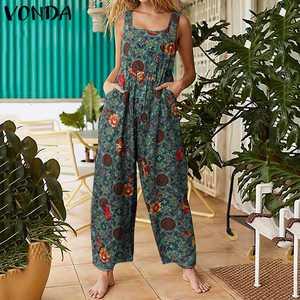 Women's Overalls Sleeveless Jumpsuits 2021 VONDA Vintage Cotton Wide Leg Pants Casual Floral Rompers Plus Size Bottoms S-5XL