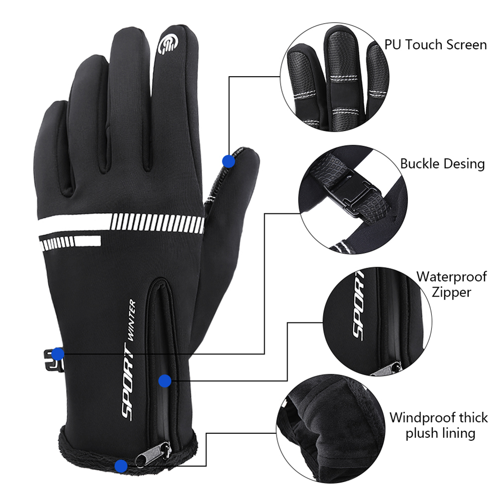 WoSporT Winter Windproof Warm Gloves Men Ski Gloves Snowboard Glove Motorcycle Riding Winter Touch Screen Snow Windstopper Glove in Cycling Gloves from Sports Entertainment