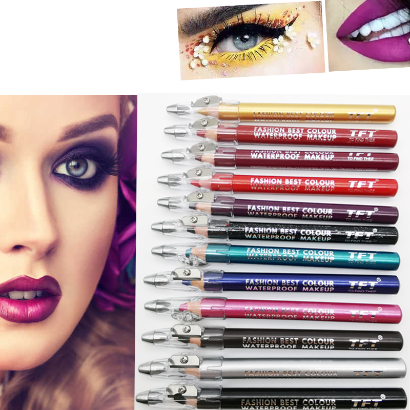 12 Colors Beautiful Eyeliner Lip Liner Set With Sharpener Waterproof Smudge-proof Colorfast Easy To Color Eyebrow Pencil