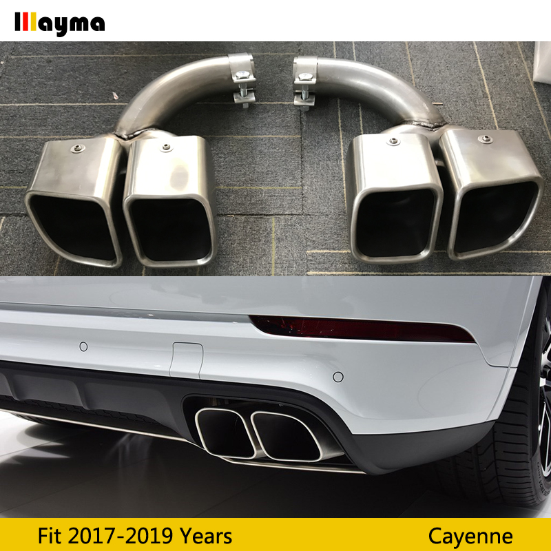 square tail exhaust tips muffler pipe for porsche new cayenne 2018 2019 2020 cayenne turbo stainless steel mufflers 1 pair