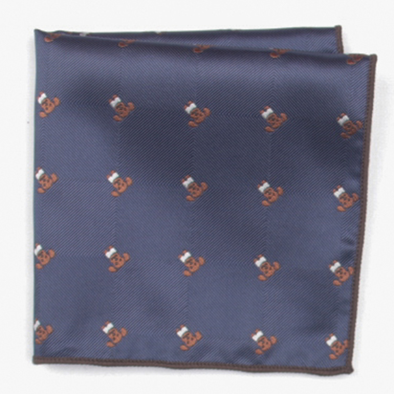 Dark Blue Fashion Patterned Pocket Square With Patterns Handkerchief