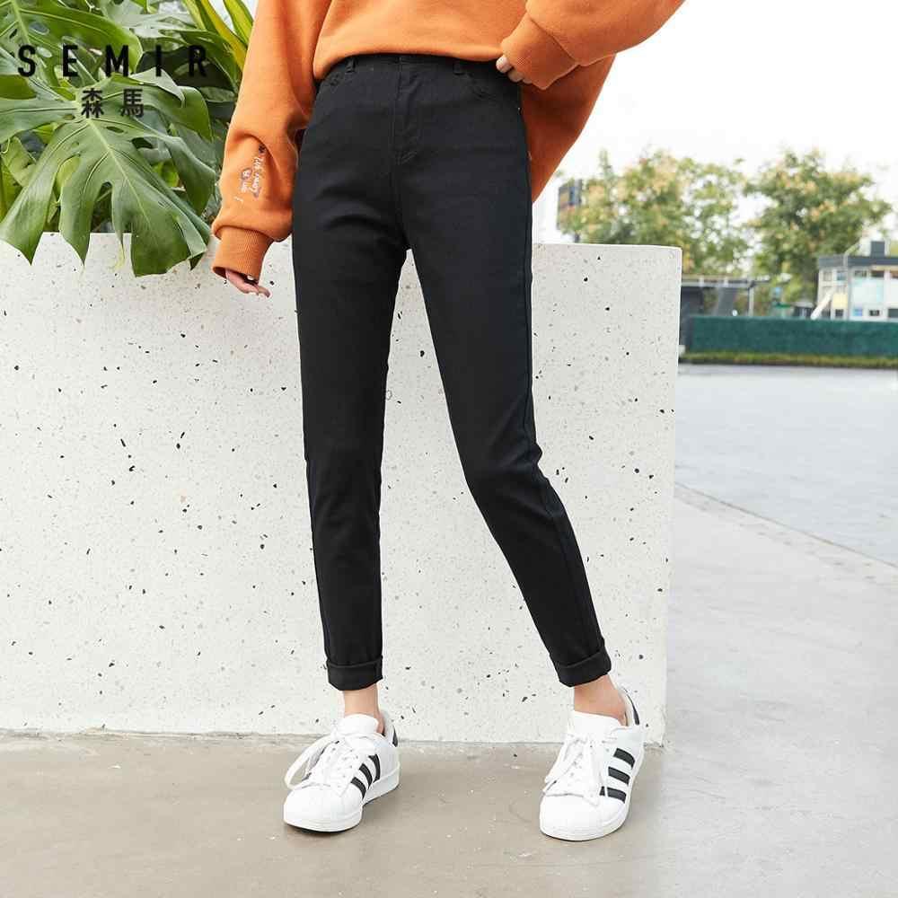 SEMIR Frauen Super Slim Fit Hosen frauen Dünne Hohe Jeans in Baumwolle Mischung Hosen Dünne Fit mit Elastische Taille mode Frühjahr