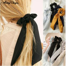 1 PCS Ponytail Holder Hair Scrunchies Solid Stripe Ribbon Elastic Hair Bands Girls Scarf Hair Ties Rope Woman Hair Accessories