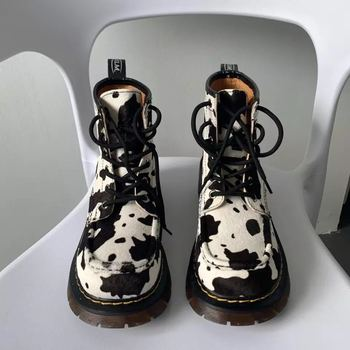 Women Motorcycle Boots Autumn Winter Fashion Solid Color Martin High Quality Comfortable Cow pattern Female