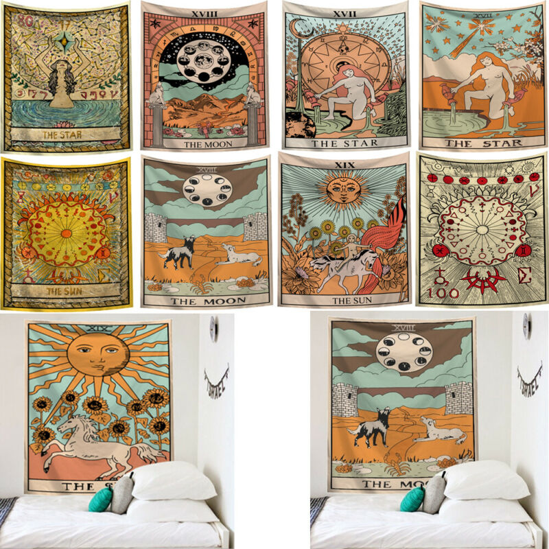 Sun and Moon Tarot Psychedelic Tapestry Indian Hippie Wall Hanging Home Decor