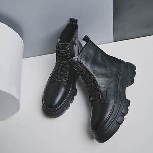 Image 5 - Krazing סיר שחור צבעים אמיתי עור אופנה עמיד למים בוהן עגול תחרה עד חורף נשים להתחמם נוח קרסול מגפי L37