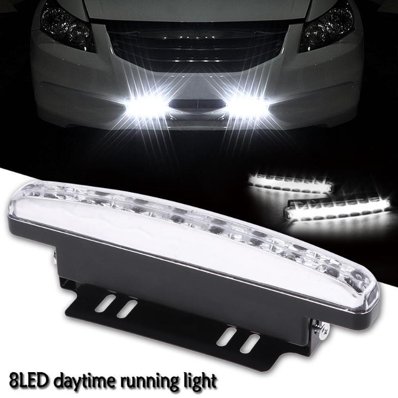 12V DRL New Car Styling 8 LED Daytime Driving Running Light DRL Car Fog Lamp Waterproof White Bright Light 6000K Strong Light