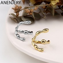 ANENJERY de Plata de Ley 925 Plata geométrica textura anillo para mujeres Irregular anillos a rayas personalidad simplicidad anillo S-R99