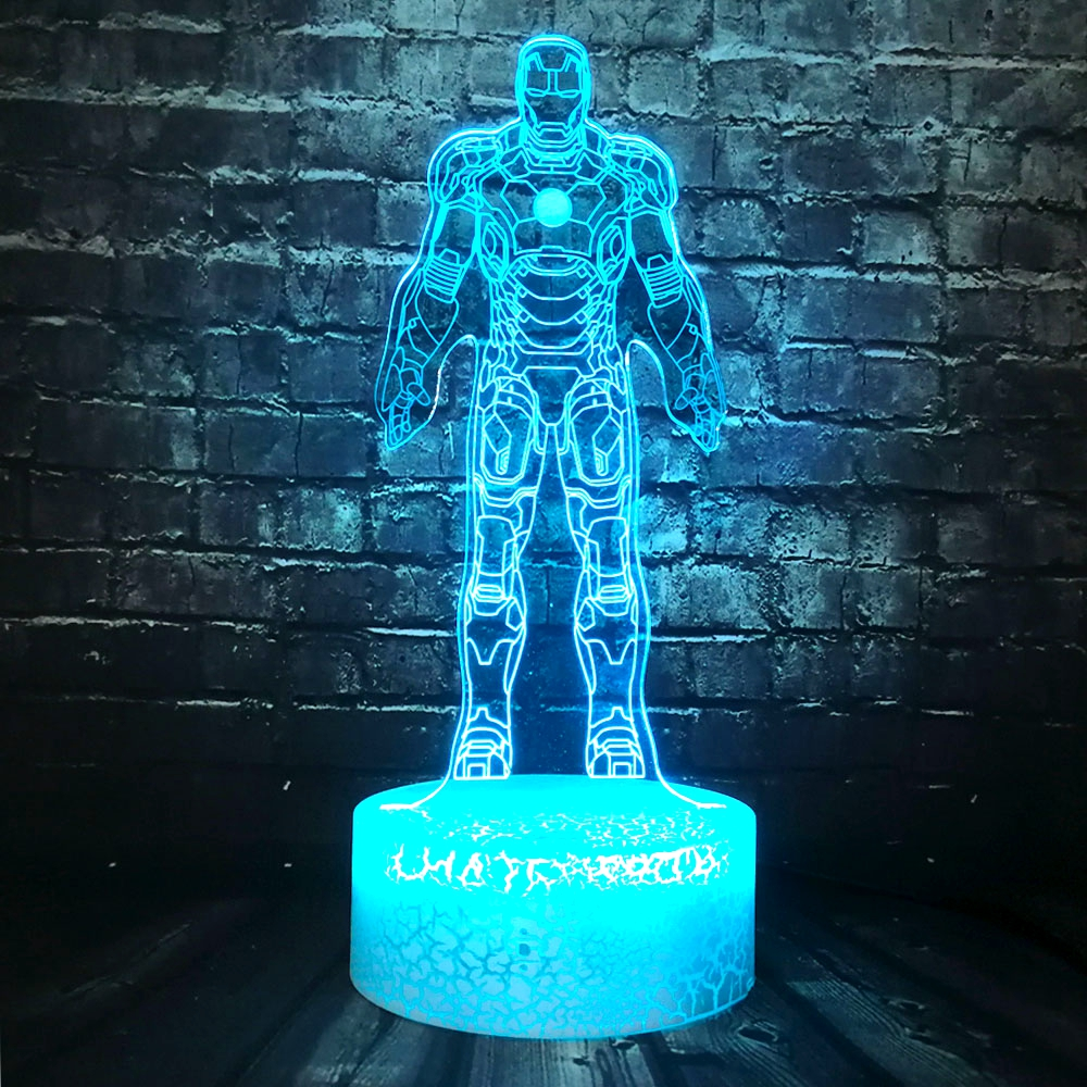 Nieuw figuur ijzer Man 7 kleurverandering USB Touch 3D LED nachtlampje Bureaulamp kind cadeau slaapkamer Decor Stemming Lava Party Kids cadeau speelgoed