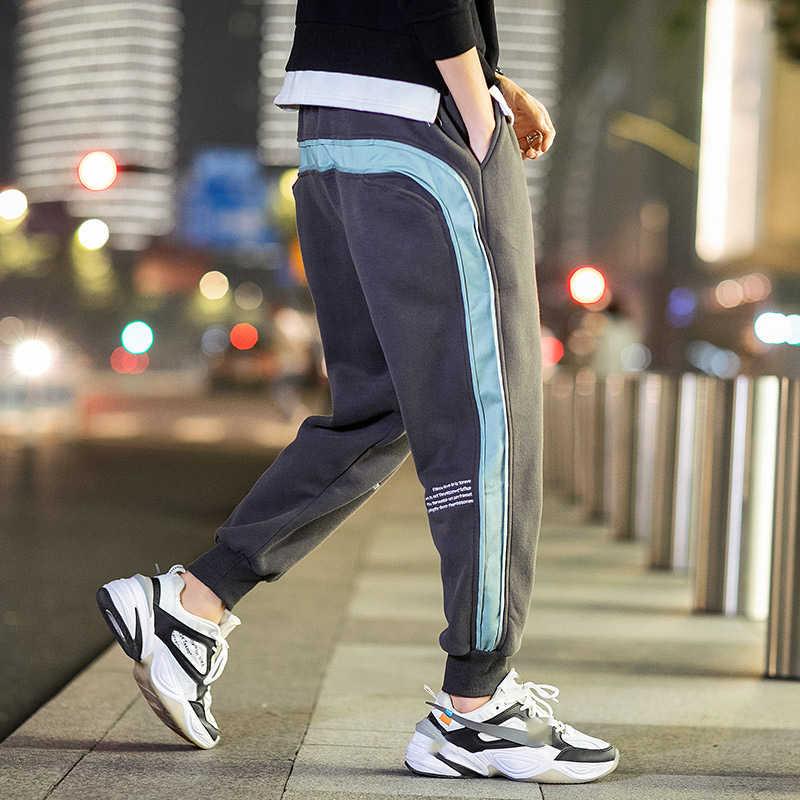 2020 wiosna jesień czarny zielony męskie spodnie biegaczy mody spodnie dresowe na co dzień utwór męskie potu spodni