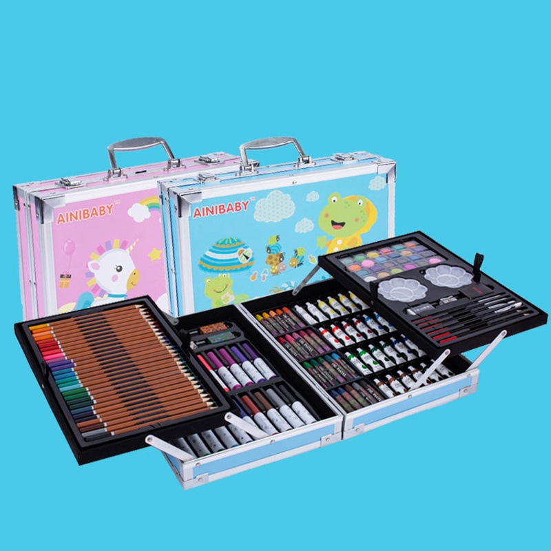 Children Brush Painted Watercolor Pens Set Gift Box Double Layer Aluminum Box Gift Color Crayon Fine Art Painted Tool