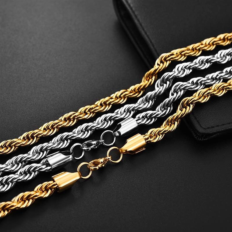 Image 3 - Jiayiqi 2mm 7mm Rope Chain Necklace Stainless Steel Never Fade 