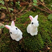 Synthetic Resin Hand-painted Mini Rabbit Ornament Miniature Figurine Model Pastoral Style Animal Ornaments Home Decoration Craft(China)