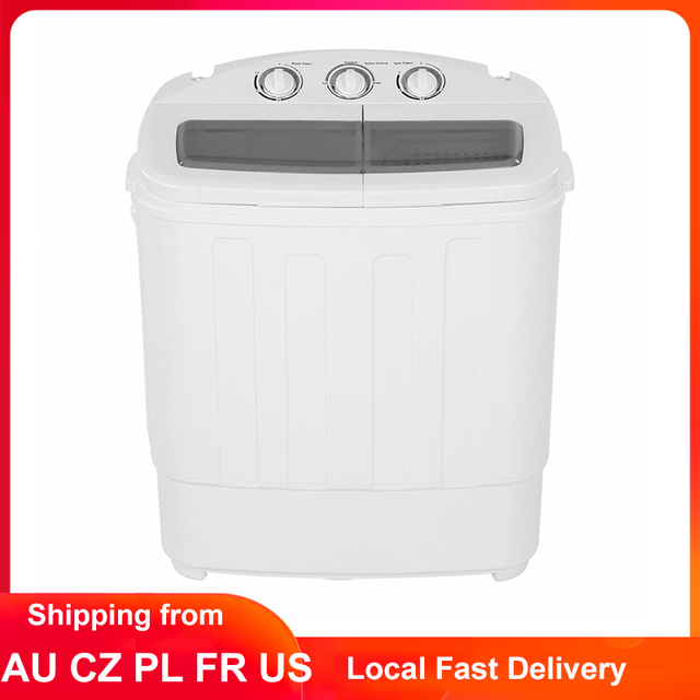 11lb Washing Machine Automatic Twin Tub Laundry Washer Rotating Turbines Spin Dryer Bucket Clothes Cleaning Machine 110V 220V