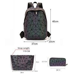 Image 2 - Luminous Backpacks Women Geometric Laptop Backpack For Men Shoulder Backpack School Holographic Rucksack Female Trave School Bag