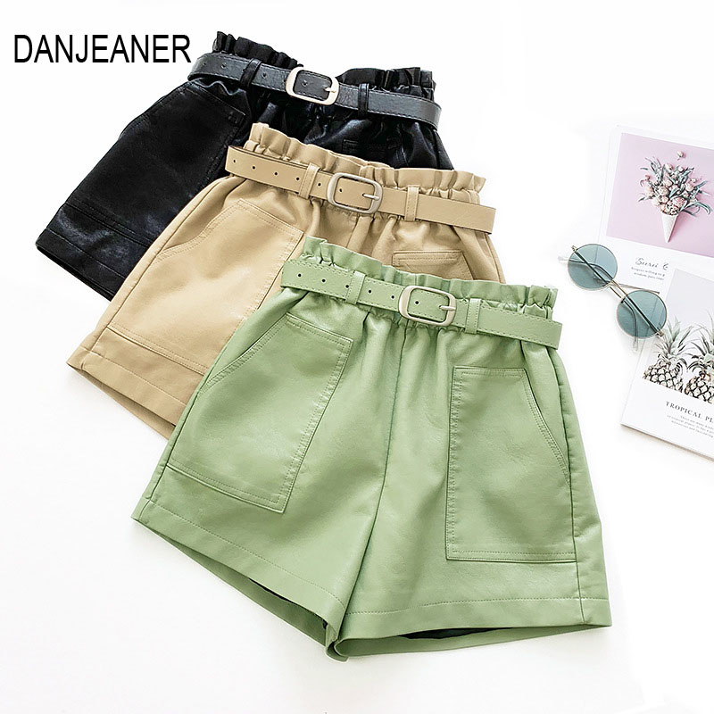 DANJEANER Elastic High Waist Loose PU Leather Shorts Women England Style Sashes Wide Leg Short Ladies Sexy Leather Shorts