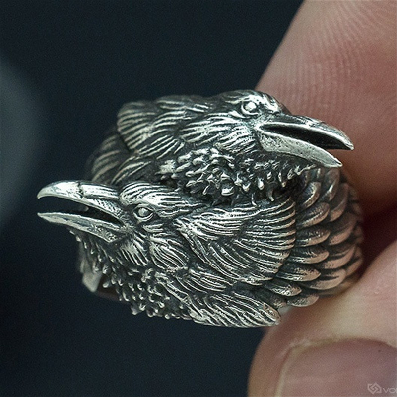 Men's Fashion Jewelry Vintage Vikings Two Twined Crow Ring Nordic Myth Crow Ring Odin Amulet Rings(China)