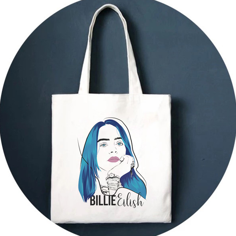 Billie Eilish Print Shoulder Bag Fun Harajuk Drawstring Bags Handbag Gothic Backpack Hip Hop Ulzzang Street New Women Bag Wallet