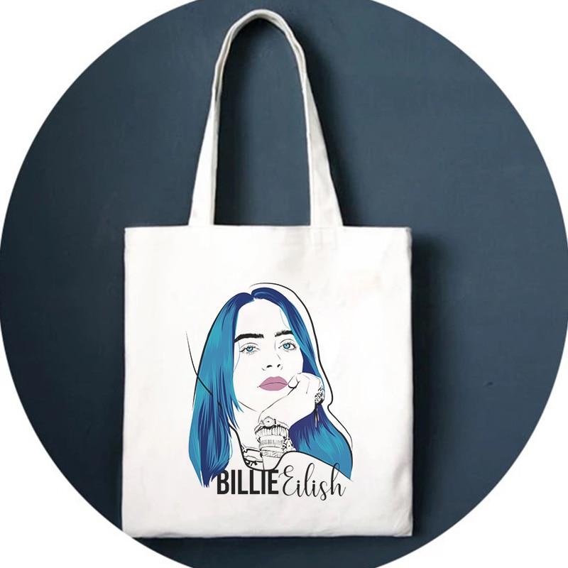 Billie Eilish Print Shoulder Bag Fun Harajuk Drawstring Bags Handbag Gothic Backpack Hip Hop Ulzzang Street New Women Bag Wallet