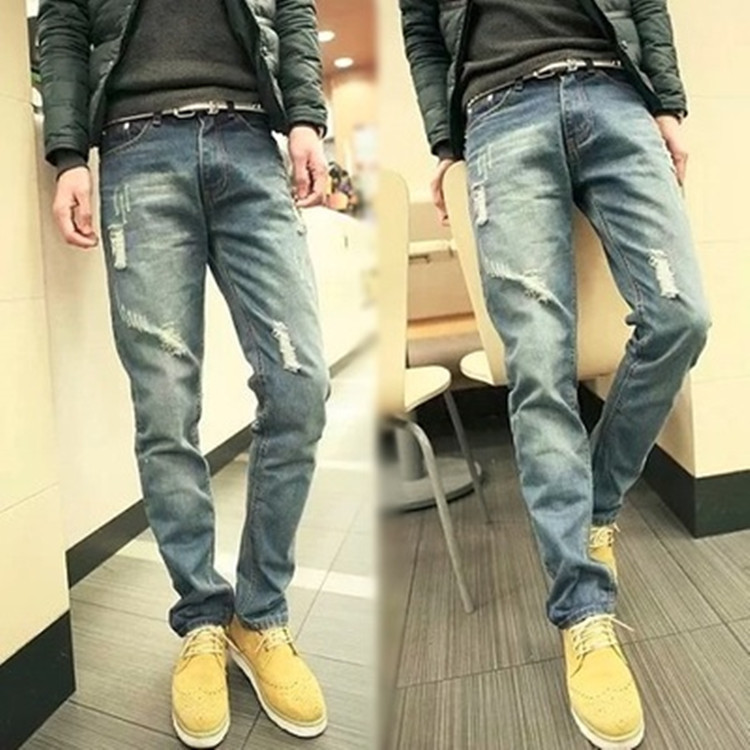 Lin Curved MEN'S Trousers Korean-style With Holes Jeans Men's Fashion Men Frayed Beggar Jeans Versatile