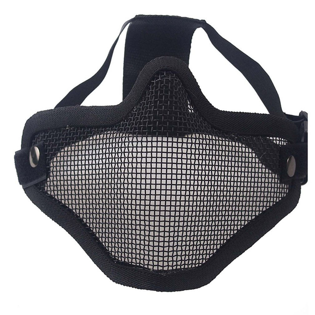 Airsoft Field Wargame Tribal Chief Mask Half Face Metal Steel Net Mesh Hunting Tactical Protective Airsoft Mask 3 Colors