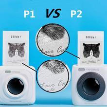 Карманный портативный Bluetooth фотопринтер PAPERANG P2, миниатюрный 300 DPI Термопринтер для этикеток, наклеек, наклеек, для детей 200 DPI