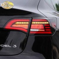 車用ledテールライトテールライトテスラモデル3 2016-2021リア + ブレーキ + リバースランプ + ダイナミックターン信号