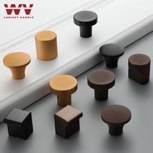 Wv liga de zinco sólido redondo único furo marrom guarda-roupa armário gaveta alças botões sólidos ferragens puxadores de móveis puxa botões