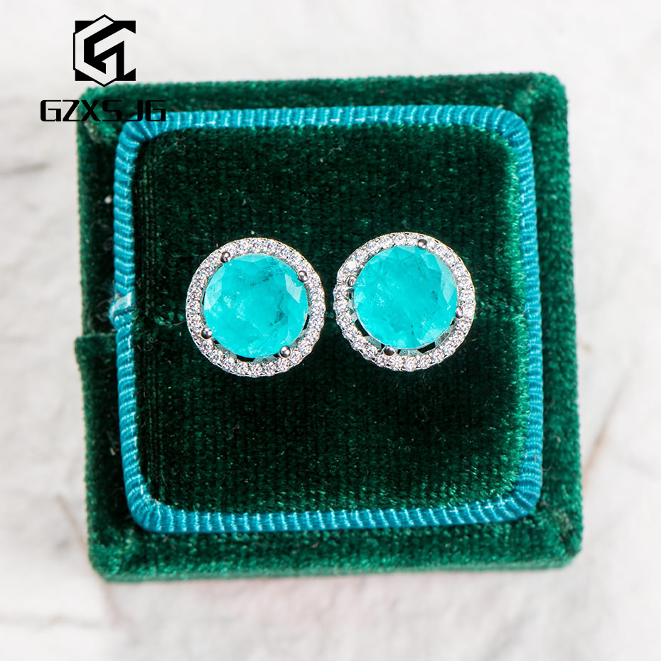 GZ Paraiba Tourmaline Gemstones Stud Earrings For Women Solid 925 Sterling Silver Round Gemstone For Engagement  Promise Party