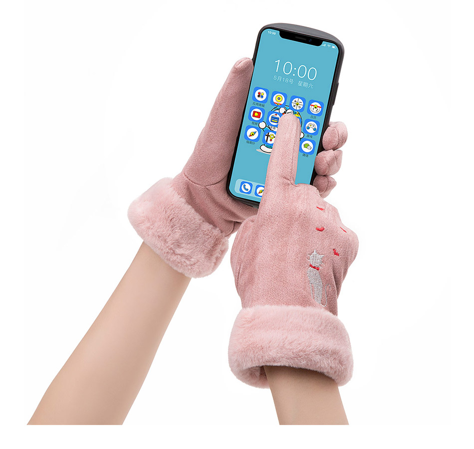 Winter Women Touch Screen Gloves with Embroidery made with a Special Conductive Fabric into Finger Tips for fast Navigation of All Touch Screen Device 15