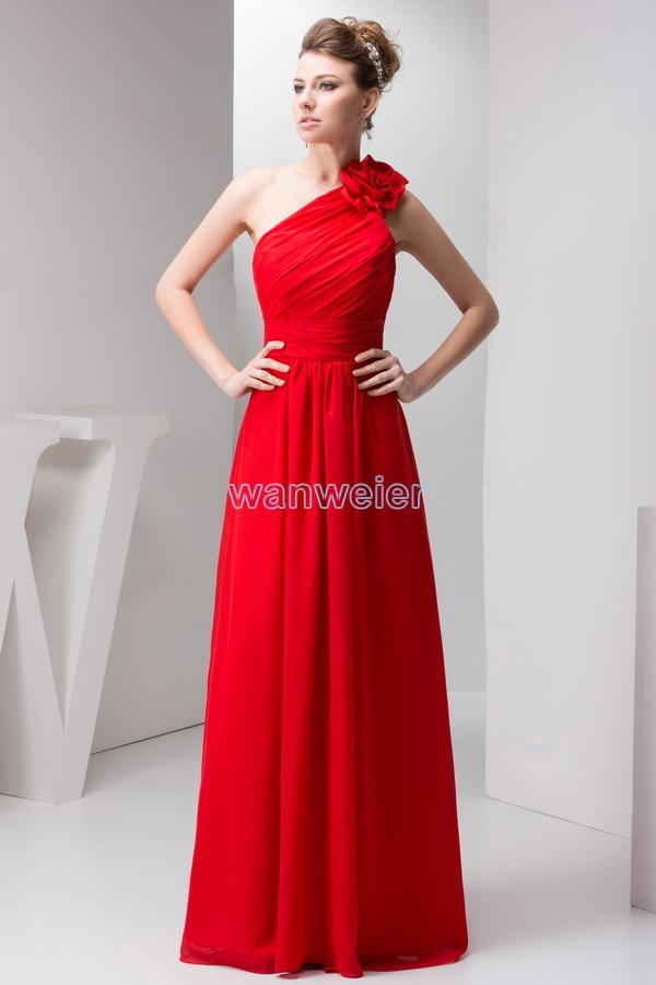 Free Shipping 2016 New Design Pleat Brides Maid Dress Handmade Flower One Shoulder Hot Custom Size/color Red Bridesmaid Dress
