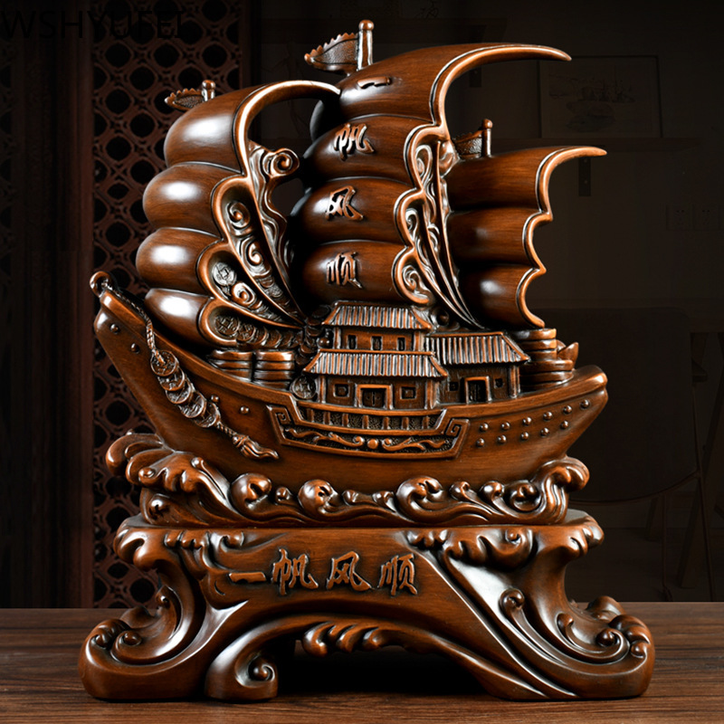 New Resin Sailing Decoration Lucky Gift Living Room Study Office Desktop Decoration Decorations Opening Christmas Gifts WSHYUFEI|Figurines & Miniatures| - AliExpress