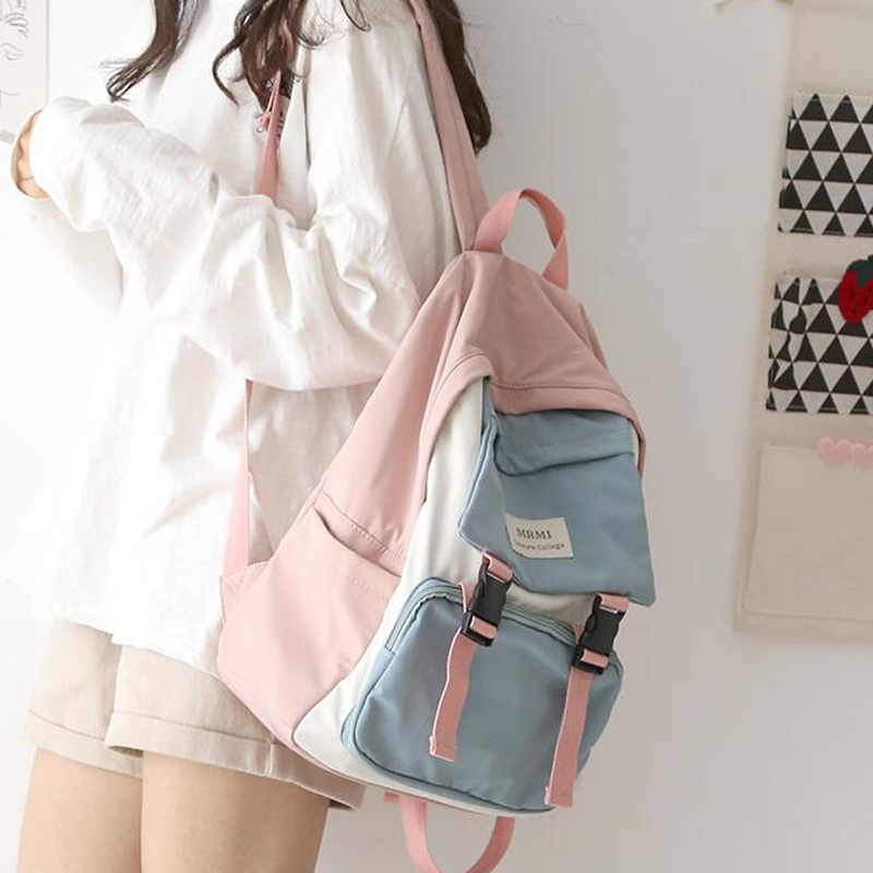 Waterproof Nylon Women Backpack Female Fashion Design Patchwork Color Backpacks School Bag For Teenage Girls Travel Bags Mochila
