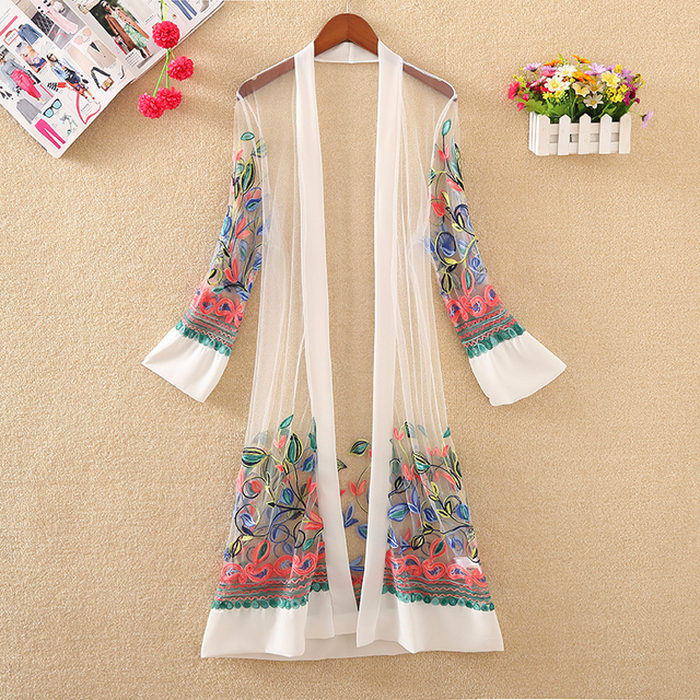 New Women Floral Embroidered Long Jacket Summer Net Cardigan Casual Long Sleeved Thin Coats Ladies Vintage Beach White Outerwear 2
