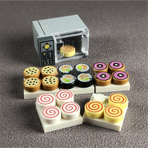 Oven Microwave Food Dessert Set Building Blocks Toy Block City Party Home Scenes MOC Accessories Model Bricks DIY Kits Toys(China)