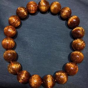 Image 2 - Gema de Cuarzo rutilado de pelo de cobre Natural genuino elástico redondo cuentas de cristal pulsera 10,5mm efecto ojo de gato raro AAAAA