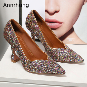 Sexy Pointy Toe V-Cut Out Shallow Shoes Woman Unique Goblet Heel Bling Sequined Cloth Women Pumps Zapatos De Mujer