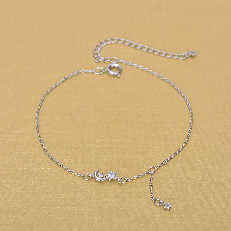 Silver Plated Anklets 925 Fashion Silver Chain Moon Star Anklet for Foot Barefoot Leg Jewelry