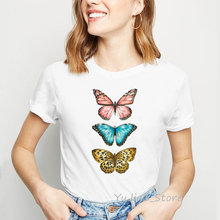 Women t shirt colorful butterflies print tee shirt femme summer top female white round neck t-shirt vintage basic tshirt цена 2017
