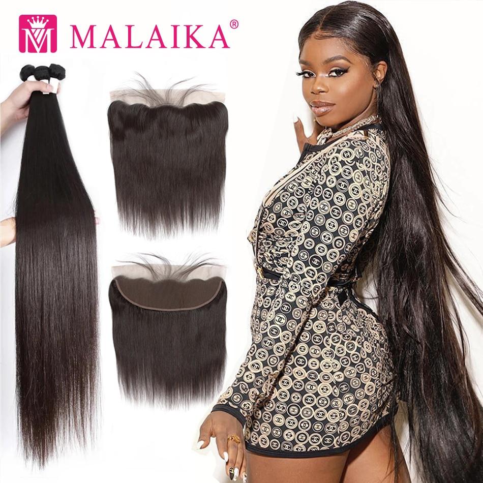 Прямые Малазийские Волосы Malaika 30 32 34 40 дюймов, пряди с фронтальным человеческим волосом, пряди с застежкой, наращивание волос без повреждени...