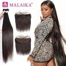 Malaika 30 32 34 40 Polegada feixes de tecer cabelo malaio em linha reta com frontal feixes de cabelo humano com fechamento remy extensão do cabelo