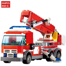 Free shipping 244pcs DIY Christmas Plastic building block sets enlighten blocks eductional toys FireFight Ladder truck