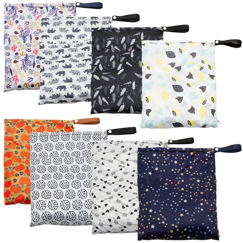 Waterproof Reusable Wet Bag Printed Pocket Nappy Bags PUL Travel Wet Dry Bags 29x36cm Diaper Bag