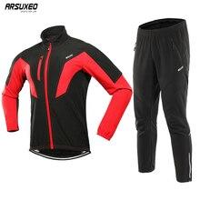 ARSUXEO Men Winter Cycling Jacket Set Windproof Waterproof Thermal Sportswear Bicycle Pants Trousers  Bike Suits Clothing 17NN недорого