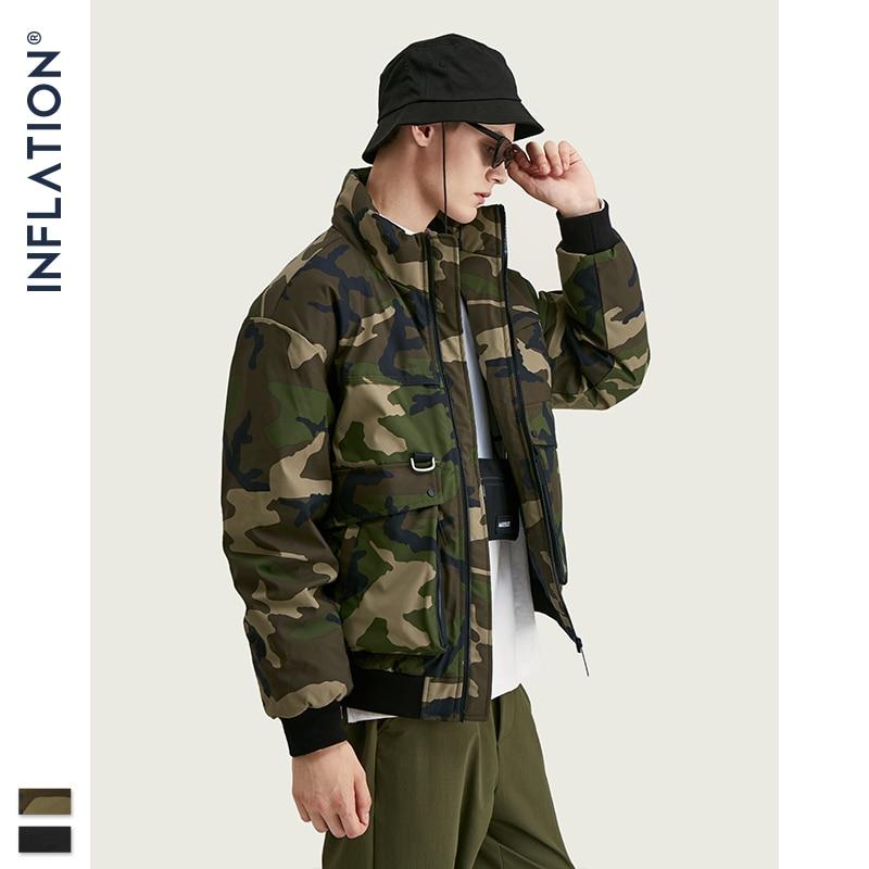INFLATION Design Camo Men Down Coat 2019 Streetwear Fashion 90% White Duck Men Down Jacket Functional Pockets Winter Coat 9759W