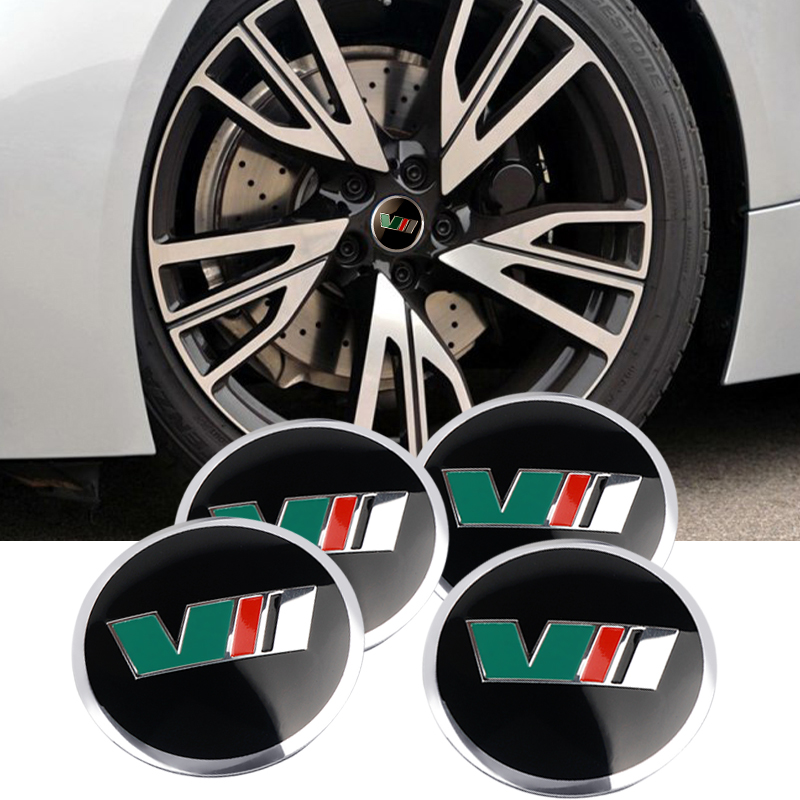 For <font><b>Skoda</b></font> rapid Fabia <font><b>car</b></font> styling 4pcs 56mm VRS VII <font><b>Car</b></font> Emblem steering <font><b>wheel</b></font> <font><b>center</b></font> Tire dust-proof <font><b>hub</b></font> <font><b>cap</b></font> sticker Decoration image