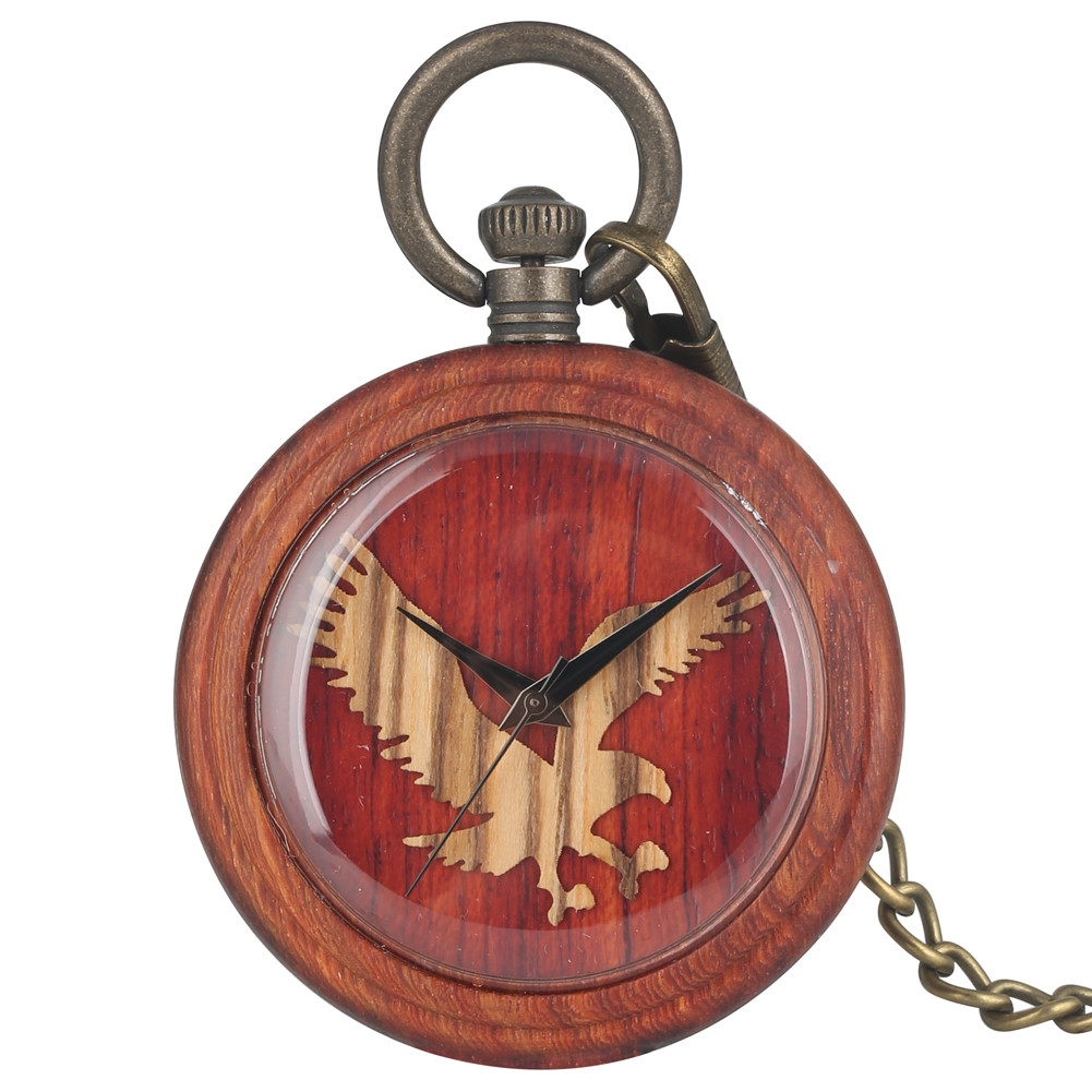 Retro Wooden Quartz Pocket Watch Red Wood Pendant Clock With Bronze Necklace Chain Owl Pattern Pocket Watch Gifts Dropshipping