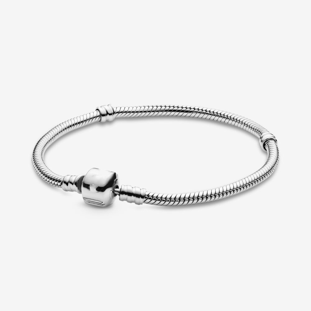 wholesale Classic 100% Real 925 <font><b>Sterling</b></font> <font><b>Silver</b></font> Pandora Moments Snake Chain <font><b>Bracelet</b></font> Fit <font><b>pan</b></font> DIY Charm <font><b>Bracelet</b></font> DIY Jewelry image