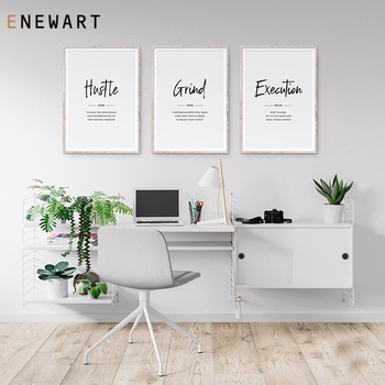 Hustle Grind Execution Script Inspirational Quote Canvas Painting Art Entrepreneur Wall Decor Office Signs Motivational Poster image