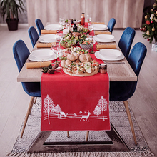 Embroidered Christmas Table Runner Holly Leaf Tree Elk Xmas Holiday Decorations Red 71x13.7